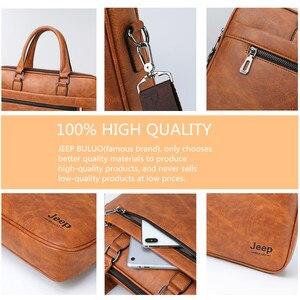 Image 4 - JEEP buuluo znane marki mężczyźni aktówka torba biuro biznes na ramię ze skóry Crossdody torba podróżna 14Laptop iPad A4 pliki torebki