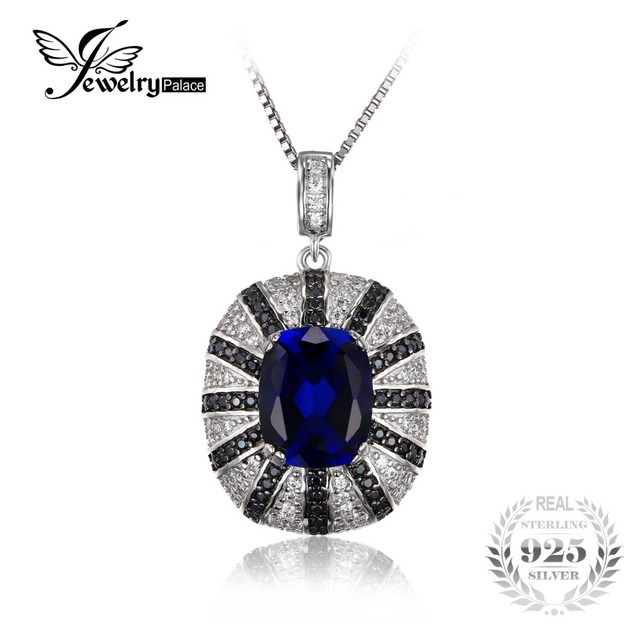 JewelryPalace Luxury 6ct Created Blue Sapphire Black Spinel Solid 925 Sterling Silver Pendant For Women Fashion Without a Chain