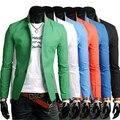 2016 Новый Дизайнер Мужская повседневная Блейзер Slim Fit Пальто Стильный Пиджаки Мужчины Куртка М-3XL 6 Цветов Terno Masculino HY829