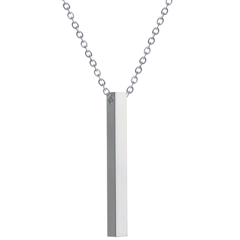 Summer Jewelry Long Chain Drop Silver Gold Vertical Bar Pendant Necklace