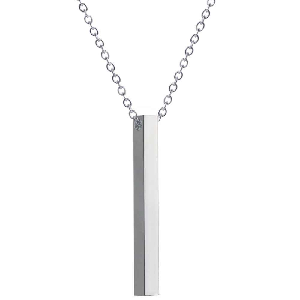 5d0e98ea37724 Personalized Vertical Bar Necklace Silver Custom Engraved Date Name ...