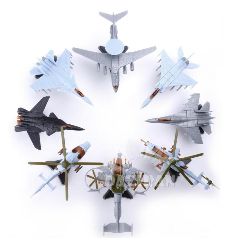 8PCS 4D Fighter Model 2nd Generation Plastic Assemble Airplane 1:165 SU-33 SU-47 Helicopter Military Fighter Sand Table Toy