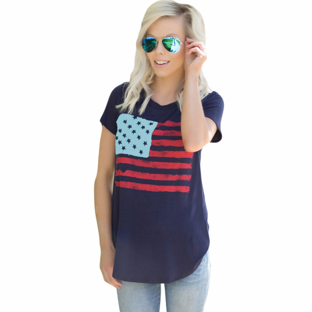 FGirl Women's t Shirt Crop Top 2017 Fashion All American Flag T-shirt in Navy Crop Top T-shirts blusas de manga curta FG50206