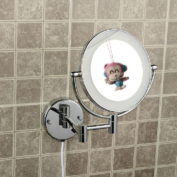 Bath Mirrors Magnifying Bathroom Wall Decor Brass Round LED Lighting Mirror Illuminator Mirrors For Women Makeup Helper 2068B