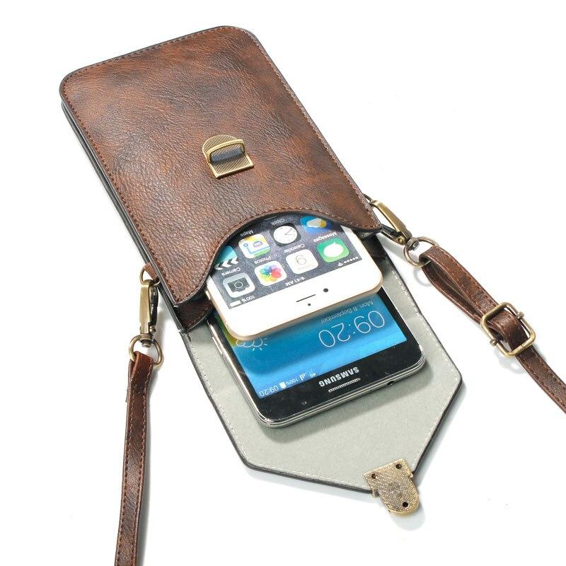imágenes para Teléfono Bolsa Universal de LA PU Bolsa De Cuero Crossbody Pequeñas Bolsas, Frente para el iphone 4 4S 5S 5 SE 6 6 s plus, Contraportada para Samsung S5 S6 S7 S4