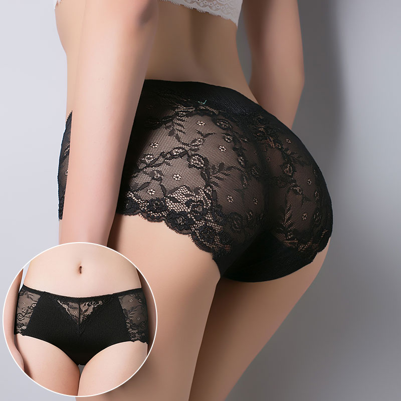 Women cotton underwear seamless briefs sexy women's Panties full transparent lace seamless plus size women underwear panty 00