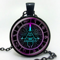 Drama Gravity Falls Mysteries BILL CIPHER WHEEL Steampunk Pendant Necklace Doctor Who 1pcs/lot Mens Vintage US 2016 Hot