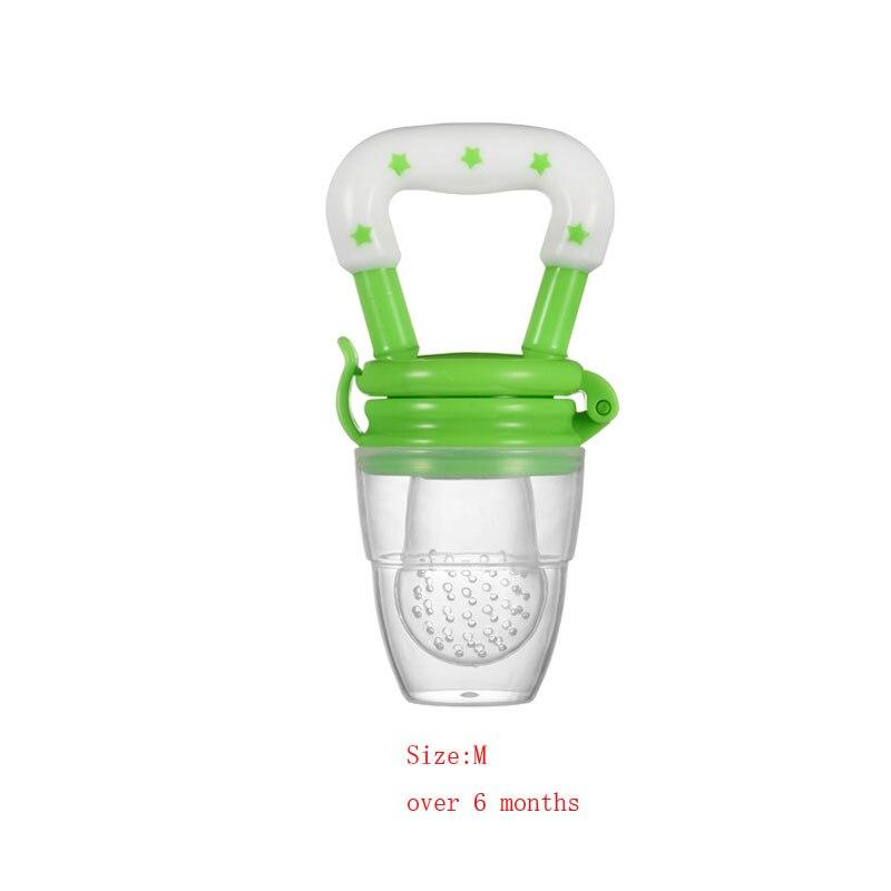 Силиконовый детский успокоитель младенцев Соска-пустышка детские соски Фидер для еда, фрукты пустышки для младенцев для кормления с соской - Цвет: Green M