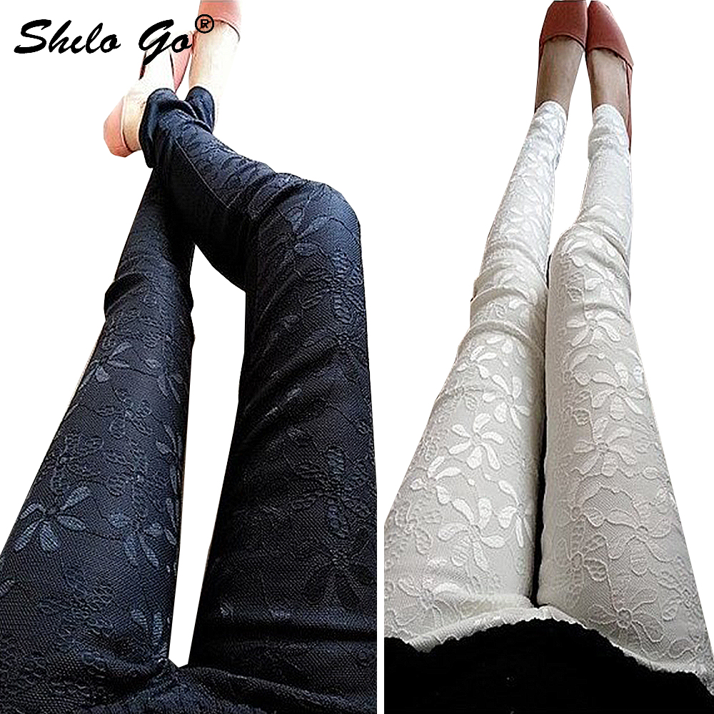 7XL Summer Capris Women Slim Embroldered Lace Stretch Leggings Pencil Pants Skinny Jeans Female Fashion Capris Trousers Black