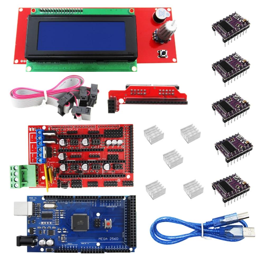 3D Printer kit 1pcs Mega 2560 R3 + 1pcs RAMPS 1.4 Controller+ 5pcs DRV8825 Stepper Motor Drive + 1pcs LCD 2004 controller toothed belt drive motorized stepper motor precision guide rail manufacturer guideway