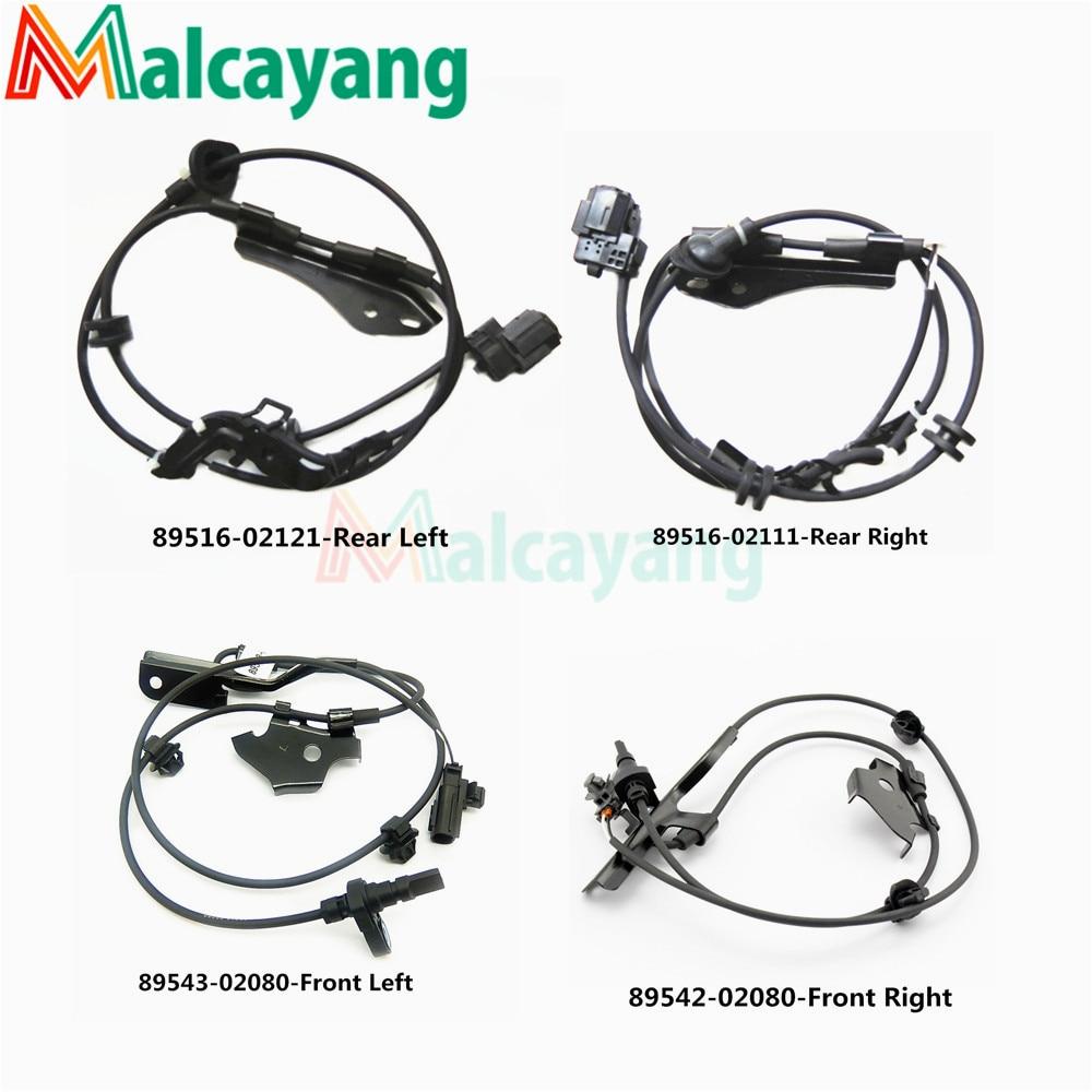 4pcs Lot ABS Wheel Speed Sensor FL FR RL RR For Toyota Corolla 89542 02080 89543