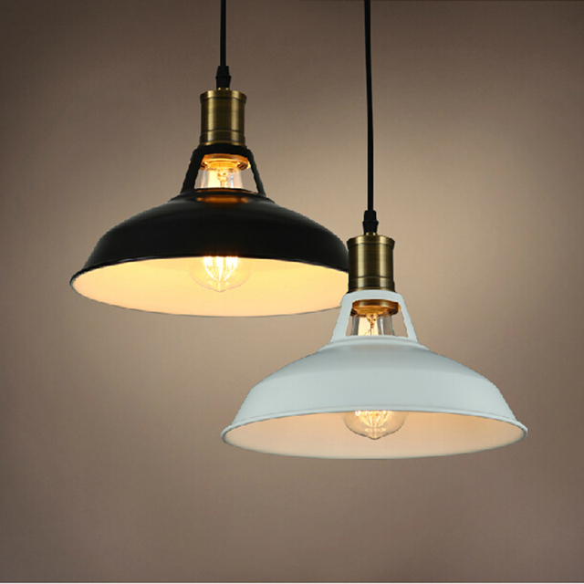 retro lighting. vintage pendant light painted iron loft lamp nordic retro incandescent bulbs e27 industrial lighting