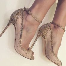 Sexy Women Bling Crystal Decoration Peep Toe Sandals Champagne Gold Mesh Rhinestone Wedding Shoes Thin High Heel Pumps
