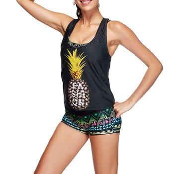 207d73ac5d542 Бикини 2018 сексуальный женский купальник Танкини купальник с шортами  Спортивный Купальный жилет женский из трех частей бикини костюм da bagno