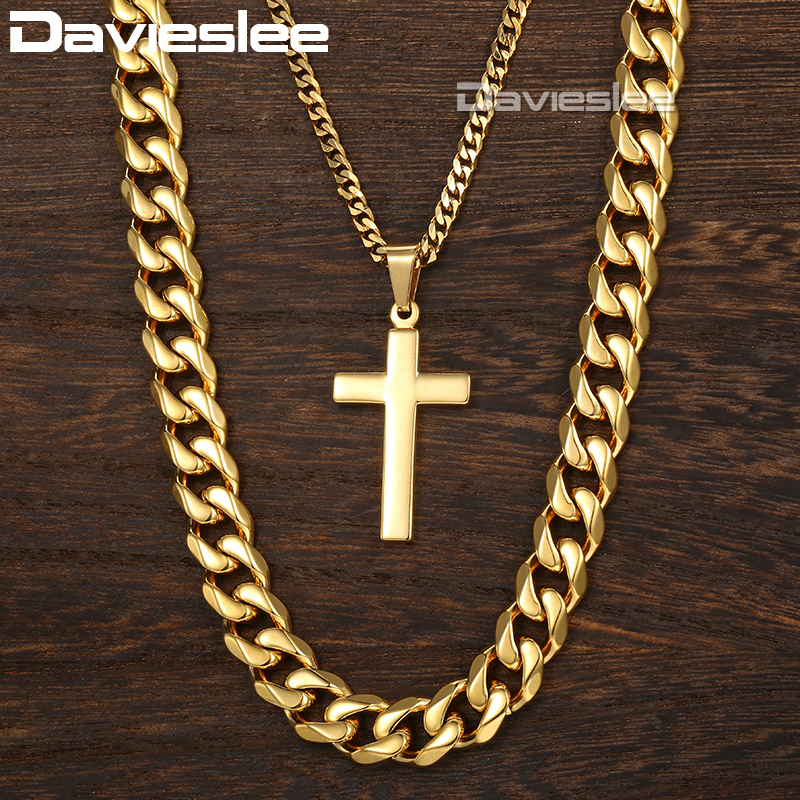 Davieslee Necklace For Men Cross Pendant Double Chain Gold Tone Stainless Steel Cuban Link Men's Necklace DDN05 double ring letter link chain pendant necklace