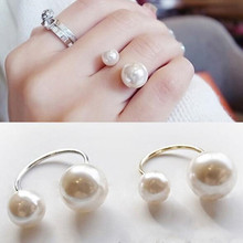 LUSION Bohemian Gold Silver Double Sides Pearl Ring Adjustable Simple Rings for Women Wedding Jewelry wholesale price(China)