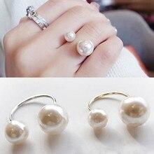 LUSION Bohemian Ouro Prata Duplo Sides Pérola Anel Ajustável Anéis Simples para As Mulheres da Jóia Do Casamento de preços por atacado