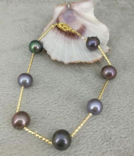 Nature 9-10mm tahitian black pearl bracelet 7.5-8 inch 14K/20 Gold claspNature 9-10mm tahitian black pearl bracelet 7.5-8 inch 14K/20 Gold clasp