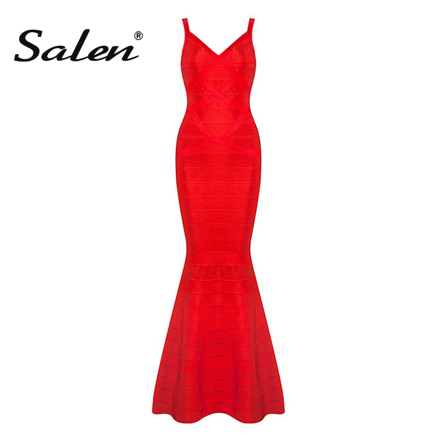 2017 New Summer Women Red Black V-Neck Sleeveless Backless Fishtail Long Wedding Evening Party Bandage Dresses Maxi Gown