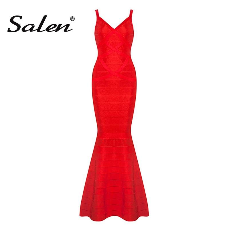 2017 New Summer Women Red Black V Neck Sleeveless Backless Fishtail Long Wedding Evening Party Bandage