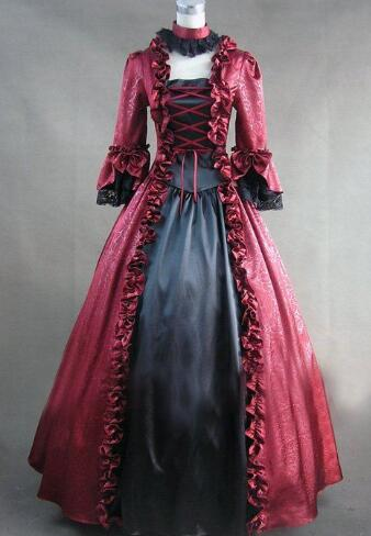 2015 nouvelle robe de bal gothique victorienne à manches longues personnalisée et robe lolita rétro fête d'halloween