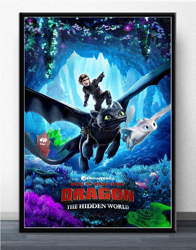 How to Train Your Dragon 3 The Hidden World Movie Silk Poster Canvas Art Prints