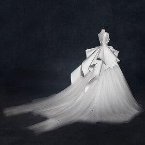 Image 2 - Vintage 2018 Wedding Dresses Ruffles Ruched Elegant Bridal Gowns V neck Backless High End  Wedding Gowns Vestido De Noiva
