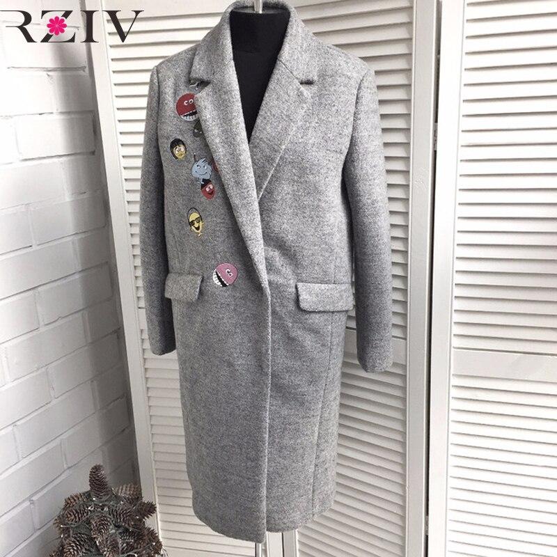 Rziv 2017 осенние и зимние casaco Feminino длинный участок женщин шерстяное пальто повседневные однотонные вышитые пальто