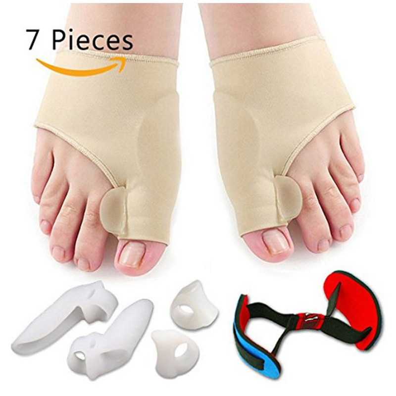 7 teile/satz Silikon Thumb Valgus Korrektur Set Toe Separator Hosenträger Daumen Valgus Schutz Bunion Teller Fußpflege Pediküre