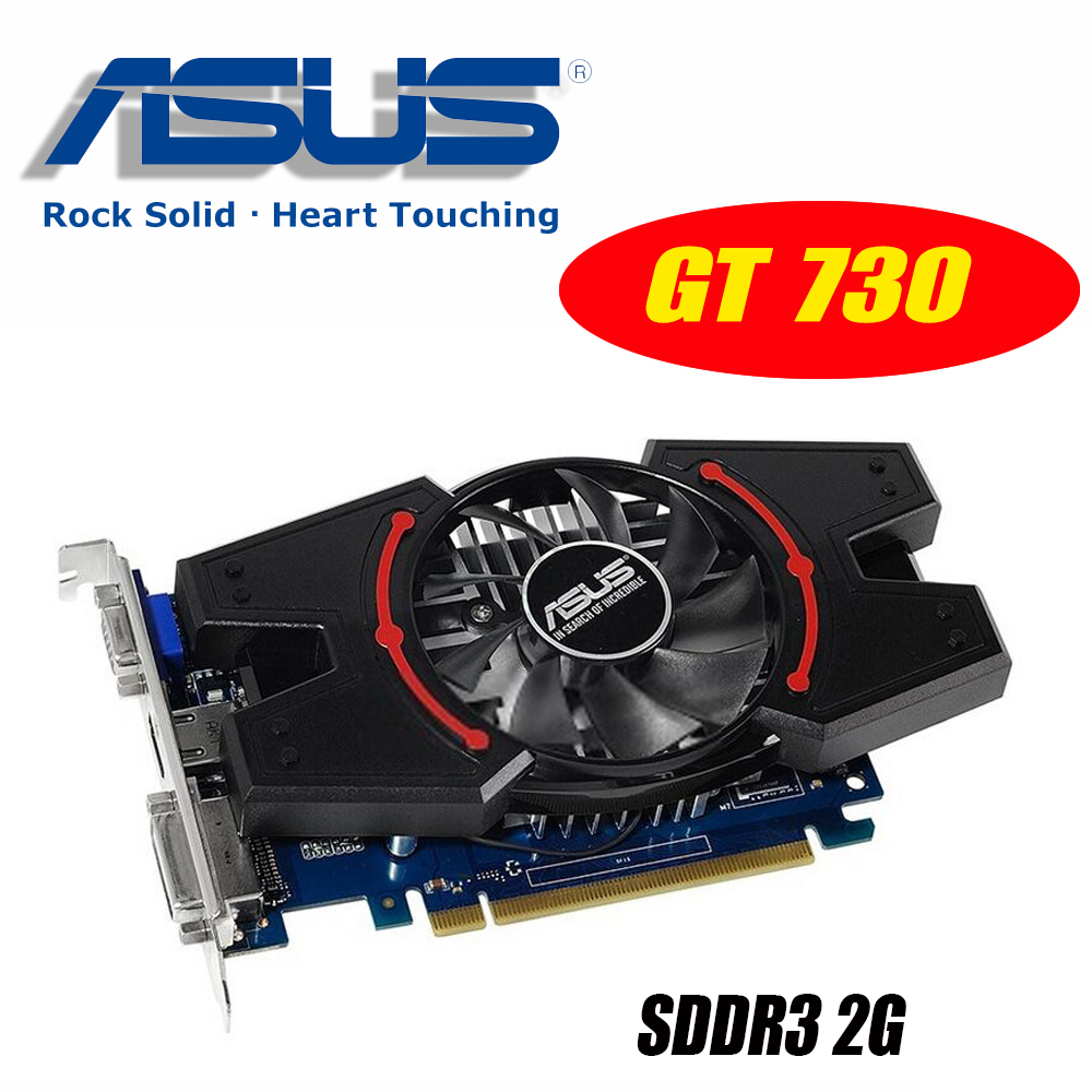 ASUS Video Card Original used GT730 2GB SDDR3 Graphics Cards for nVIDIA Geforce GPU games Dvi VGA Used video Cards GT 730 материнская плата asus h81m r c si h81 socket 1150 2xddr3 2xsata3 1xpci e16x 2xusb3 0 d sub dvi vga glan matx
