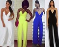 New Fashion Women Sexy Strap Cross Deep V neck Plunge High Waist Wide Leg Rompers Club Eve Party Long Jumpsuit Summer Playsuit