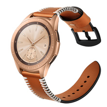купить 22mm Watchband For Samsung Gear s3 Brown Black Genuine Leather Watch Strap Bracelet For watch huami amazfit galaxy watch 46mm по цене 579.67 рублей