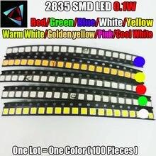 100 pces 2835 0.1 w ultra brilhante smd led valores vermelho/verde/azul/branco/amarelo/branco morno/rosa/amarelo dourado branco fresco led kit