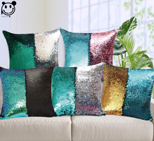 PEIYUAN Magical Throw Pillowcase Color Changing Reversible Pillow Case Pillow Cover DIY Mermaid Green Sequin Cushion Cover