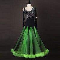 green ballroom dance dress fringe standard ballroom dress viennese waltz dress dance wear rhinestone dance costumes