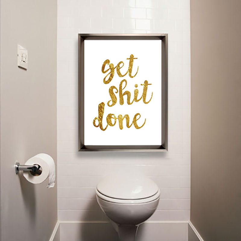 Nordic Get Shit Done Poster Bathroom Canvas Art Gold Posters And Prints Black Letter Shit Canvas Art Poster And Prints Unframed