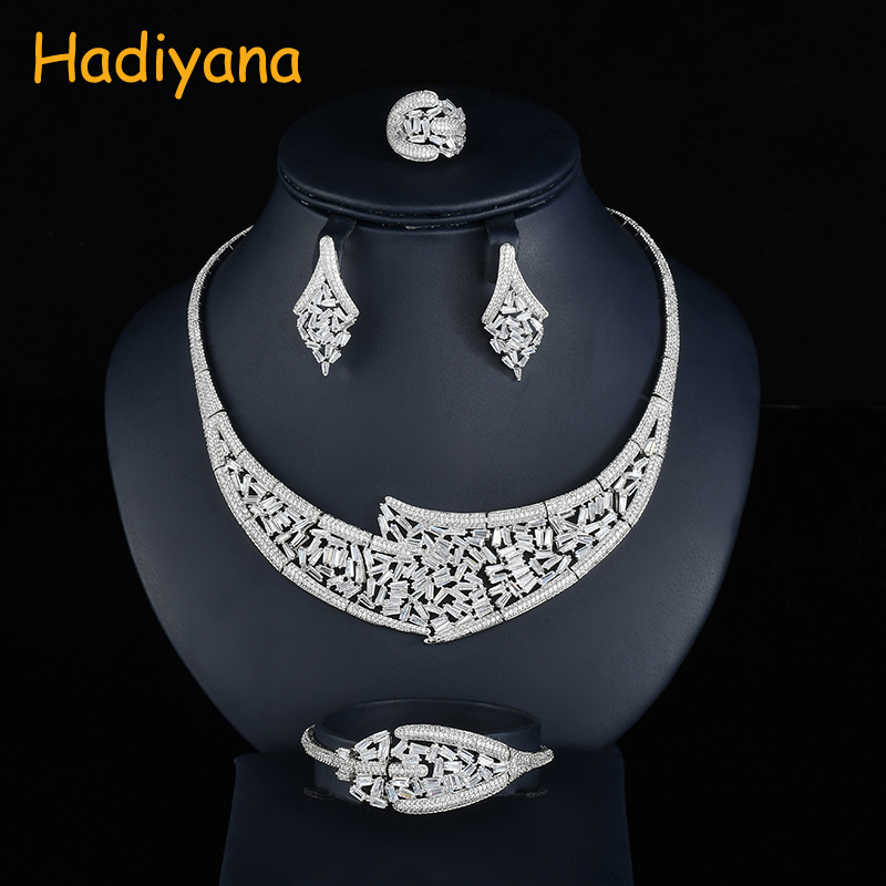 Hadiyana New Spikling Cubic Zirconia Jewelry Set Trendy Women Jewelry Acessories Set For Women Wedding Party Free Shipping CN741