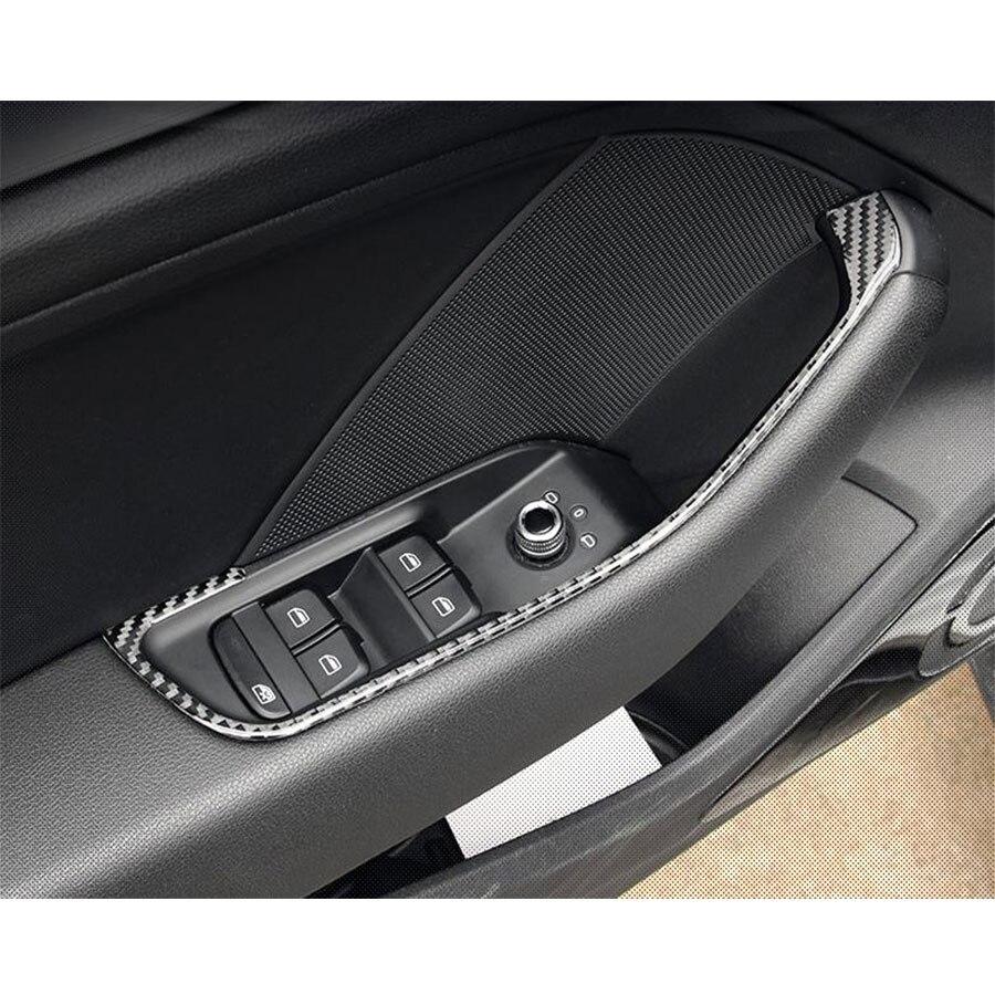 4pcs/set Carbon Fiber interior Trim Window Lifter panel decoration for Audi A3 S3 2014up LHD 4pcs set smoke sun rain visor vent window deflector shield guard shade for hyundai tucson 2016