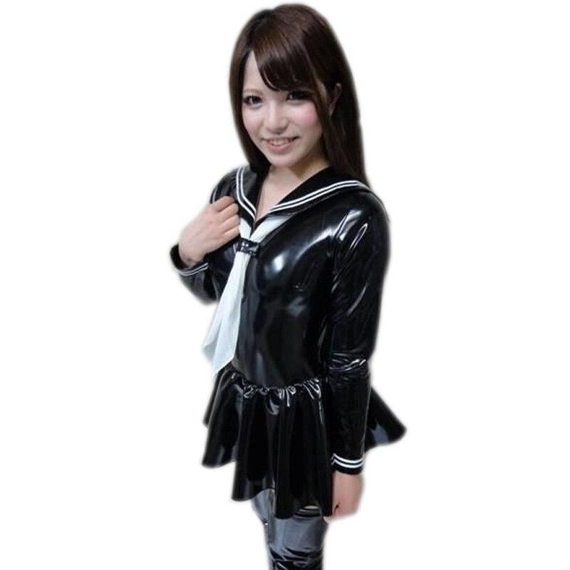 Sexy femmes grande taille Cosplay PVC brillant MINI TUTU robe col marin japonais école uniforme cravate fille femme de ménage plissée Mini robe 93