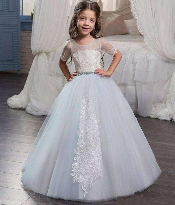 цена на White Lace Sky Blue Tulle Flower Girl Dress for Wedding Short Sleeves O Neck Girls First Communion Dress Vestidos Any Size