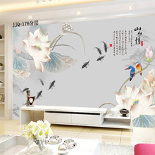 2m*1.5m 3D custom Chinese style pond flower painting wallpaper waterproof for living room TV Sofa background bedroom backdrop free shippinggentleman plum peony flower chinese tv sofa backdrop living room bedroom hotel s large mural wallpaper custom size