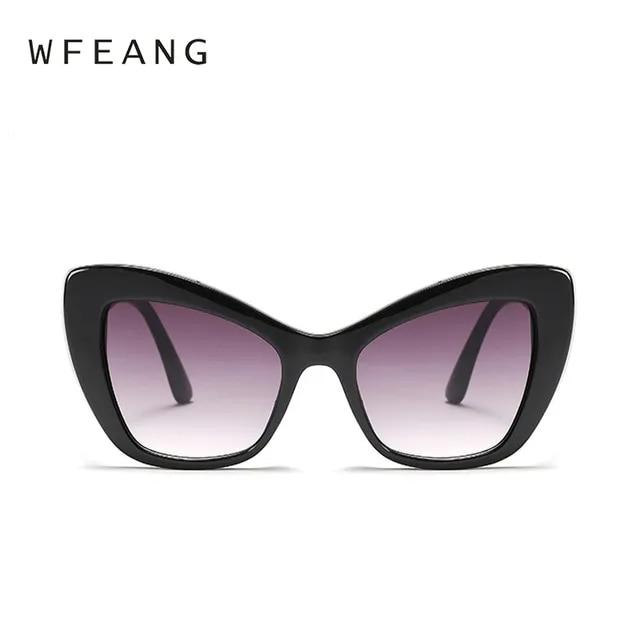 WFEANG 2019 Fashion Cat Eye Sunglasses Women Brand Design Frame Gradient Ladies Oversized Sun Glasses for Female UV400