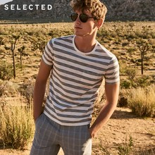 SELECTED Cotton-blend round collar slim stripe leisure short- sleeved T-shirt S|4182T4543