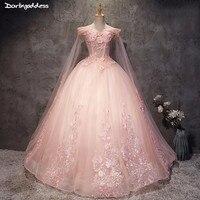 Плюс Размеры Розовый Пышное Платье 2018 недорогое бальное платье Quinceanera платье для светской девушки сладкий 16 платья Праздничное платье 15 Anos