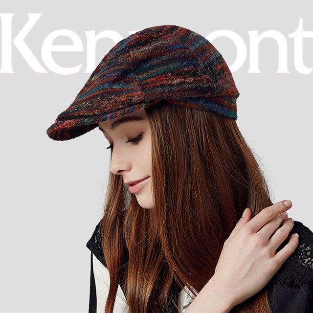 Новый Kenmont Весна Осень Женщины Красивые Повседневная Шерсть Козырьки Открытый Шерстяные Красочные Плющ Casquette Пиковые Шляпы Шапки 2367