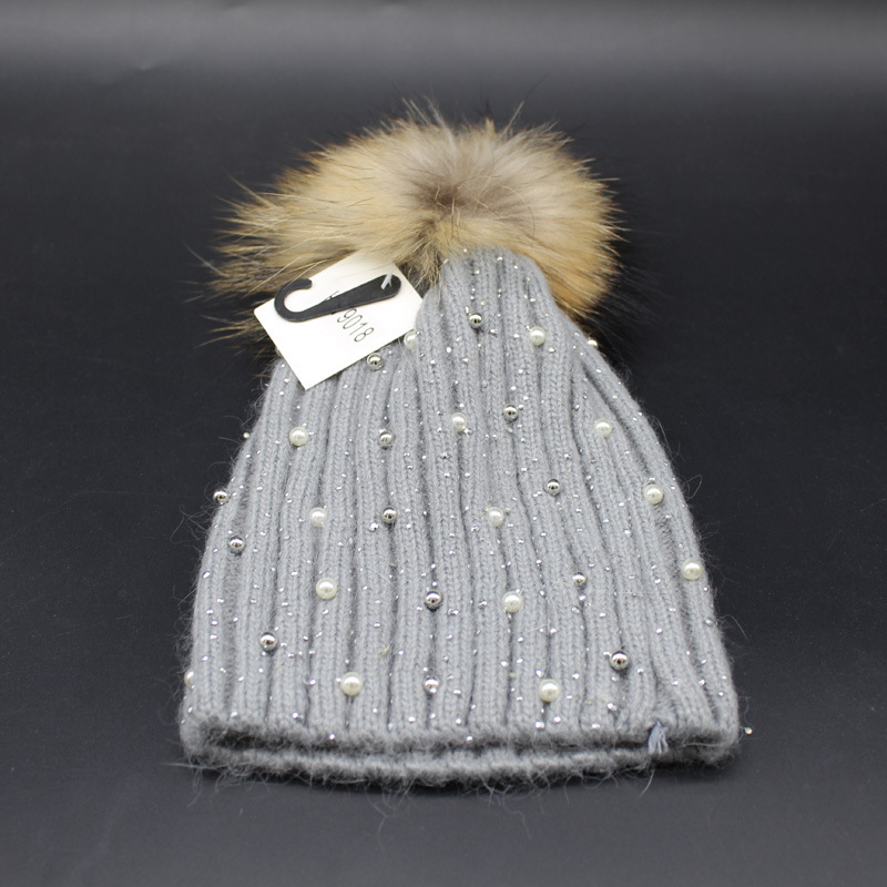 19774600 super cute crystal inlay pearl delicate knitted pom pom hat genuine ...