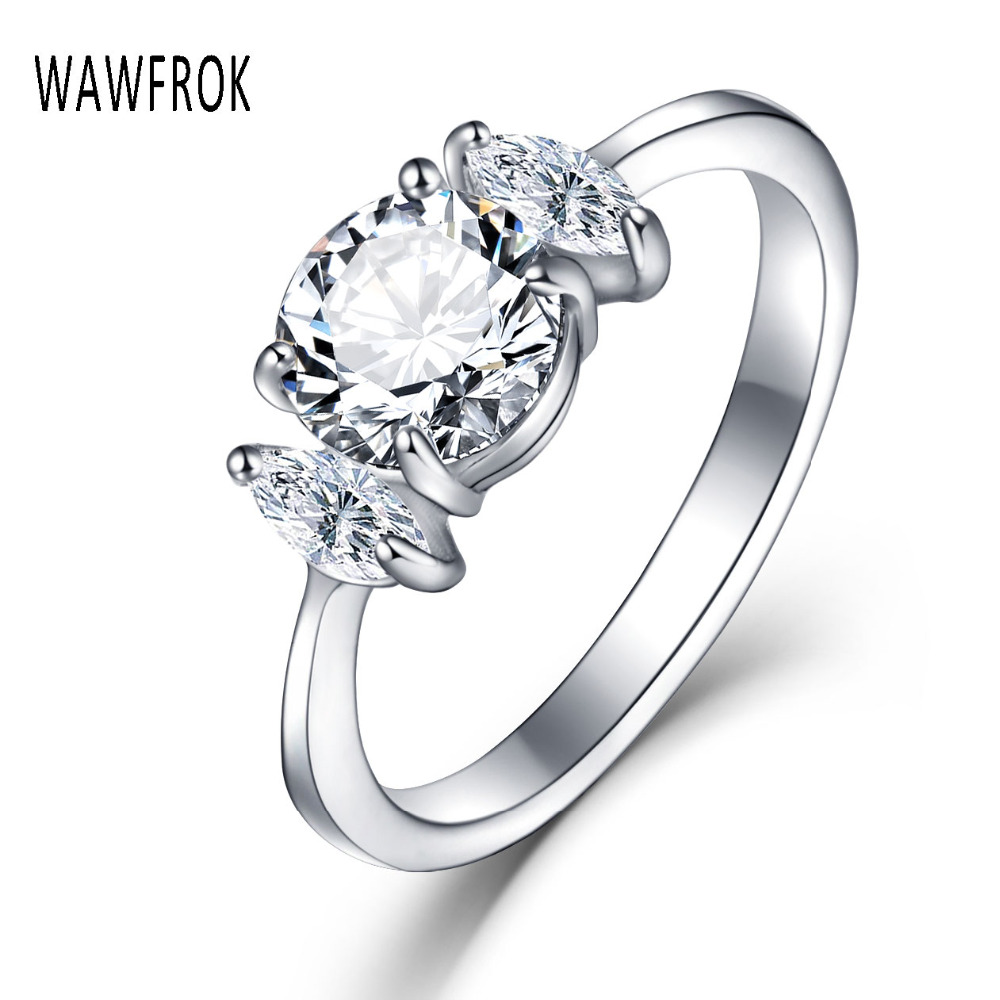 WAWFROK Fashion Silver Color Cubic Zirconia Fashion Wedding & Engagement Ring Jewelry For Women Stainless steel Rings Wholesale