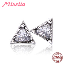 MISSITA 925 Sterling Silver Simple Triangle Earrings with CZ For Women Jewelry Brand Girlfriend Party Gift Hot Sale