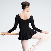 High Quality Black Cotton Ballet Dance Leotard Dress Adult Girls Women Long Short Sleeve Bodysuit Dance