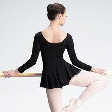 Robe léotard de danse de Ballet en coton noir, haute qualité, adulte, filles, femmes, manches longues/courtes, body, danse, Costumes de gymnastique